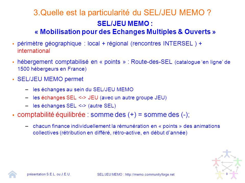 9 SEL/JEU MEMO : http://memo.communityforge.net 3.Quelle est la particularité du SEL/JEU MEMO ? SEL/JEU MEMO : « Mobilisation pour des Echanges Multip