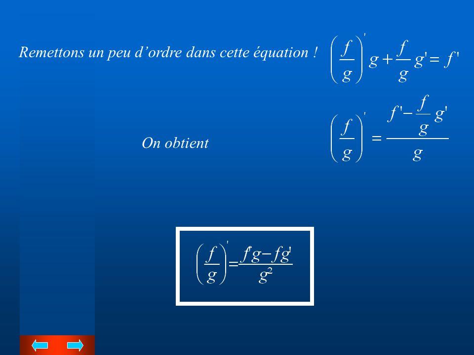 Voici deux fonctions dérivables Le calcul repris ci-dessous est valable à condition de restreindre la fonction et au domaine de la fonction Partons d'