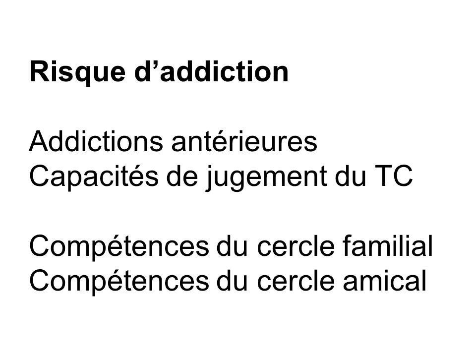Risque d'addiction Addictions antérieures Capacités de jugement du TC Compétences du cercle familial Compétences du cercle amical