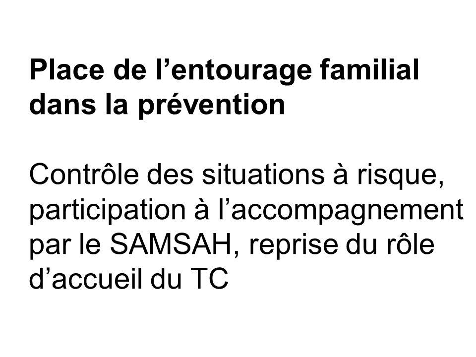 Place de l'entourage familial dans la prévention Contrôle des situations à risque, participation à l'accompagnement par le SAMSAH, reprise du rôle d'accueil du TC