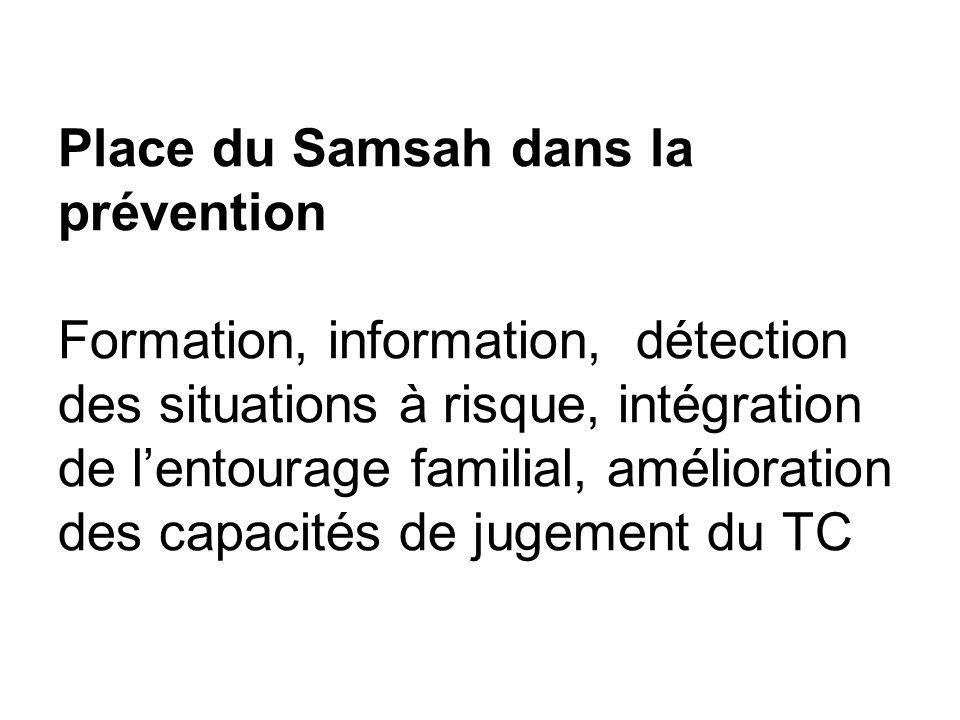 Place du Samsah dans la prévention Formation, information, détection des situations à risque, intégration de l'entourage familial, amélioration des capacités de jugement du TC