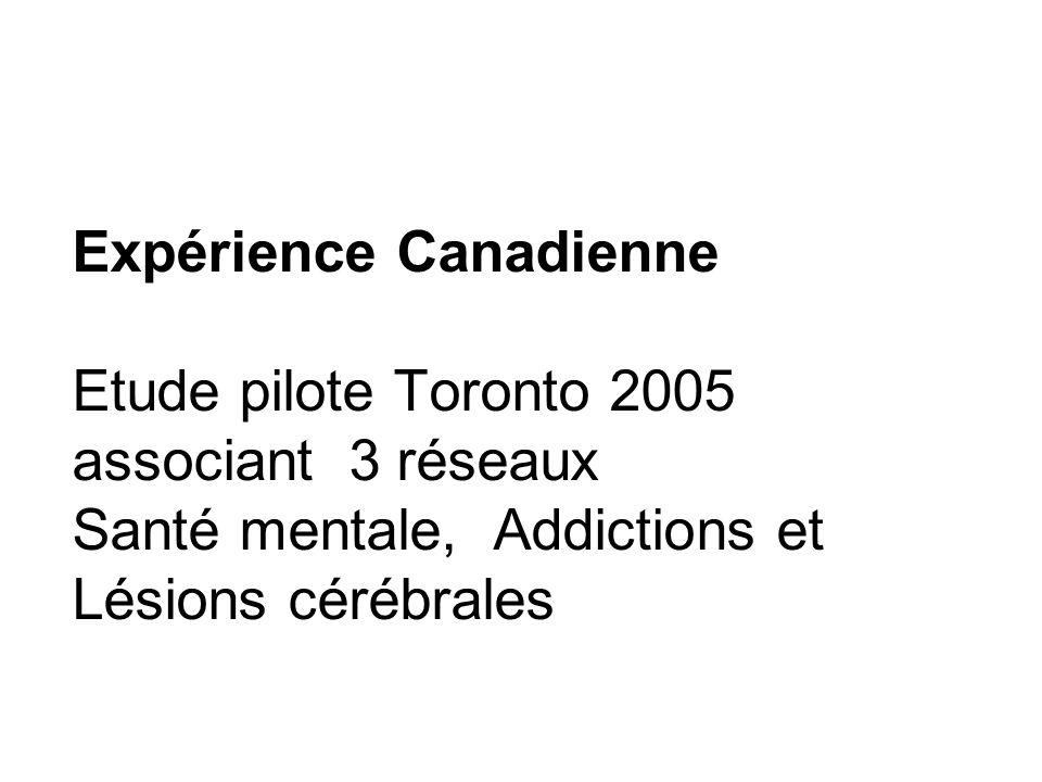Expérience Canadienne Etude pilote Toronto 2005 associant 3 réseaux Santé mentale, Addictions et Lésions cérébrales