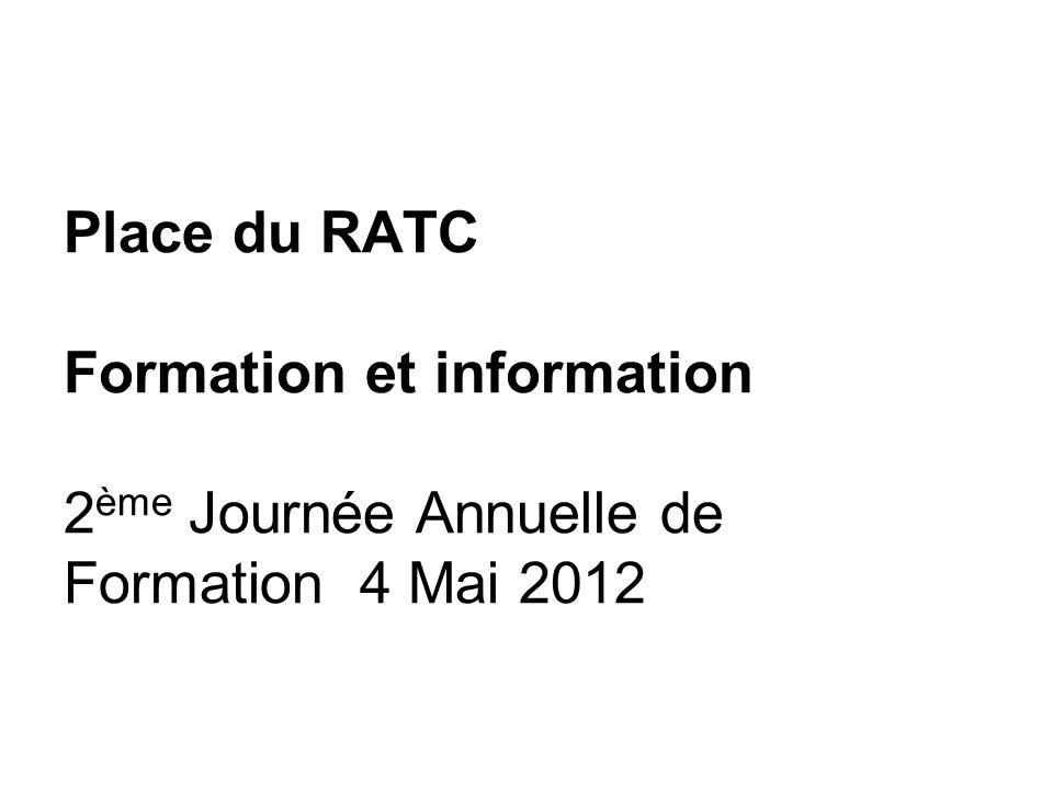 Place du RATC Formation et information 2 ème Journée Annuelle de Formation 4 Mai 2012