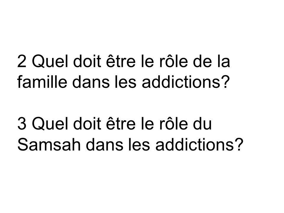 2 Quel doit être le rôle de la famille dans les addictions.