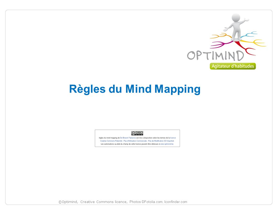 Règles du Mind Mapping ©Optimind, Creative Commons licence, Photos ©Fotolia.com, Iconfinder.com