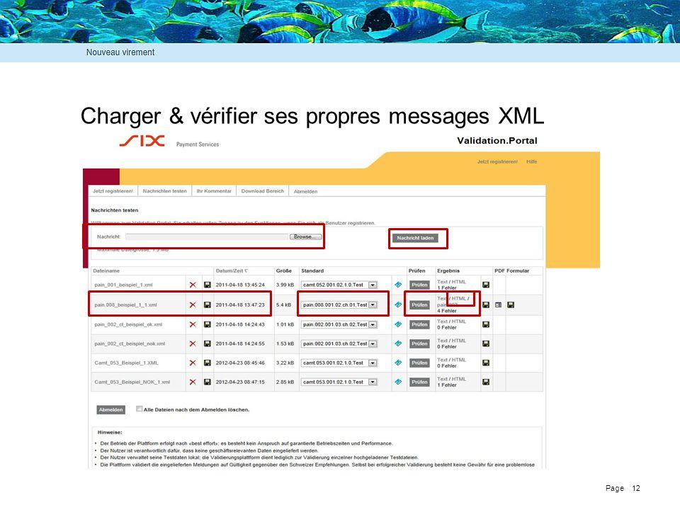 Page 12 Charger & vérifier ses propres messages XML