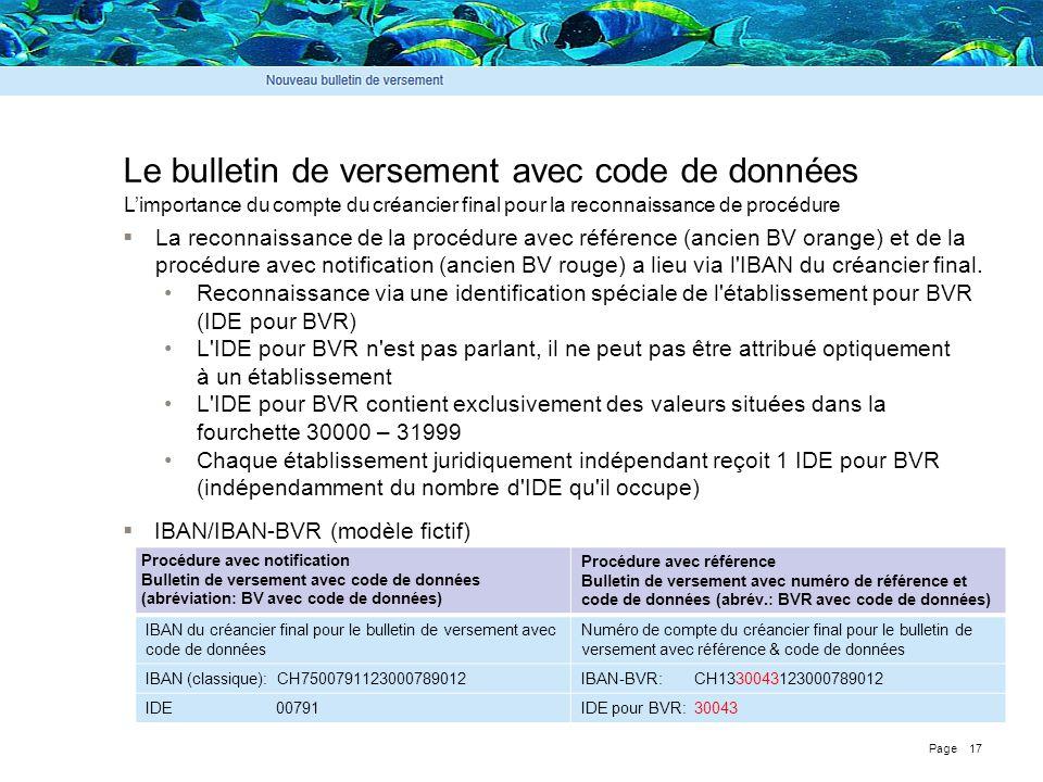 Page 17 Le bulletin de versement avec code de données  La reconnaissance de la procédure avec référence (ancien BV orange) et de la procédure avec no