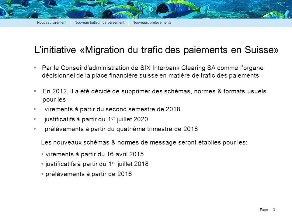 Page L'initiative «Migration du trafic des paiements en Suisse» 3  Par le Conseil d'administration de SIX Interbank Clearing SA comme l'organe décisi