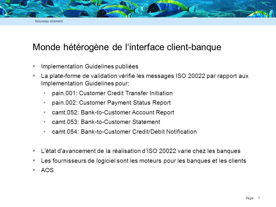 Page 7 Monde hétérogène de l'interface client-banque  Implementation Guidelines publiées  La plate-forme de validation vérifie les messages ISO 2002