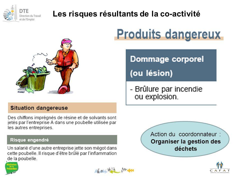 Les risques résultants de la co-activité Action du coordonnateur : Organiser la gestion des déchets