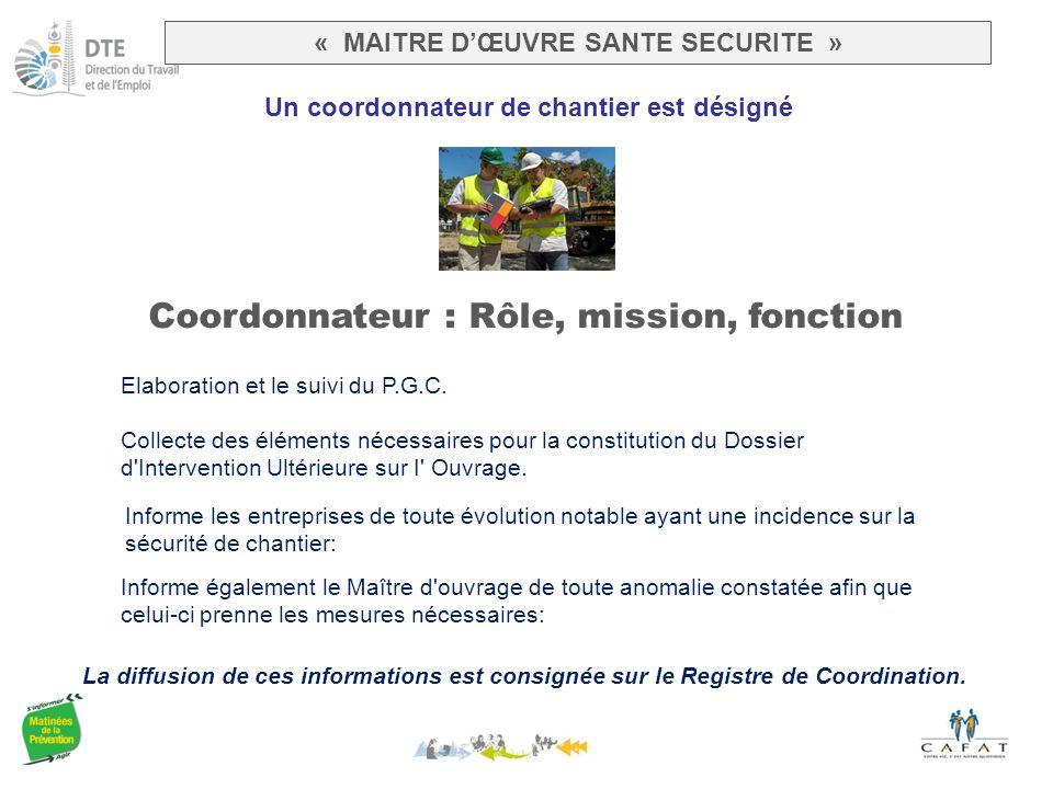 Un coordonnateur de chantier est désigné Coordonnateur : Rôle, mission, fonction La diffusion de ces informations est consignée sur le Registre de Coordination.
