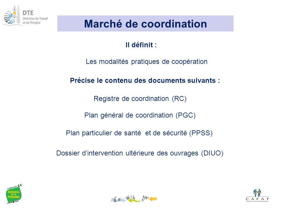 Marché de coordination Les modalités pratiques de coopération Il définit : Registre de coordination (RC) Précise le contenu des documents suivants : Plan général de coordination (PGC) Plan particulier de santé et de sécurité (PPSS) Dossier d'intervention ultérieure des ouvrages (DIUO)