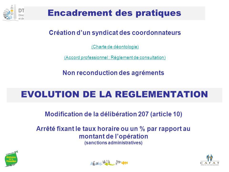 Encadrement des pratiques EVOLUTION DE LA REGLEMENTATION Création d'un syndicat des coordonnateurs (Charte de déontologie) (Accord professionnel : Règlement de consultation) Arrêté fixant le taux horaire ou un % par rapport au montant de l'opération (sanctions administratives) Modification de la délibération 207 (article 10) Non reconduction des agréments
