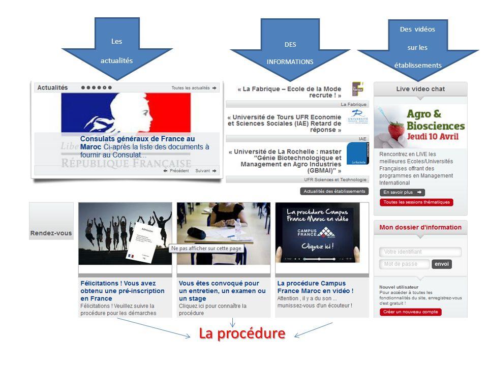 Pour créer votre compte et accéder à votre espace personnel Campus France Pour créer un dossier d'information* * « Mon dossier d'information » est un espace dédié, personnalisé qui vous permet de vous mettre à disposition des informations sur mesure en fonction des champs que vous aurez remplis lors de la création de votre compte