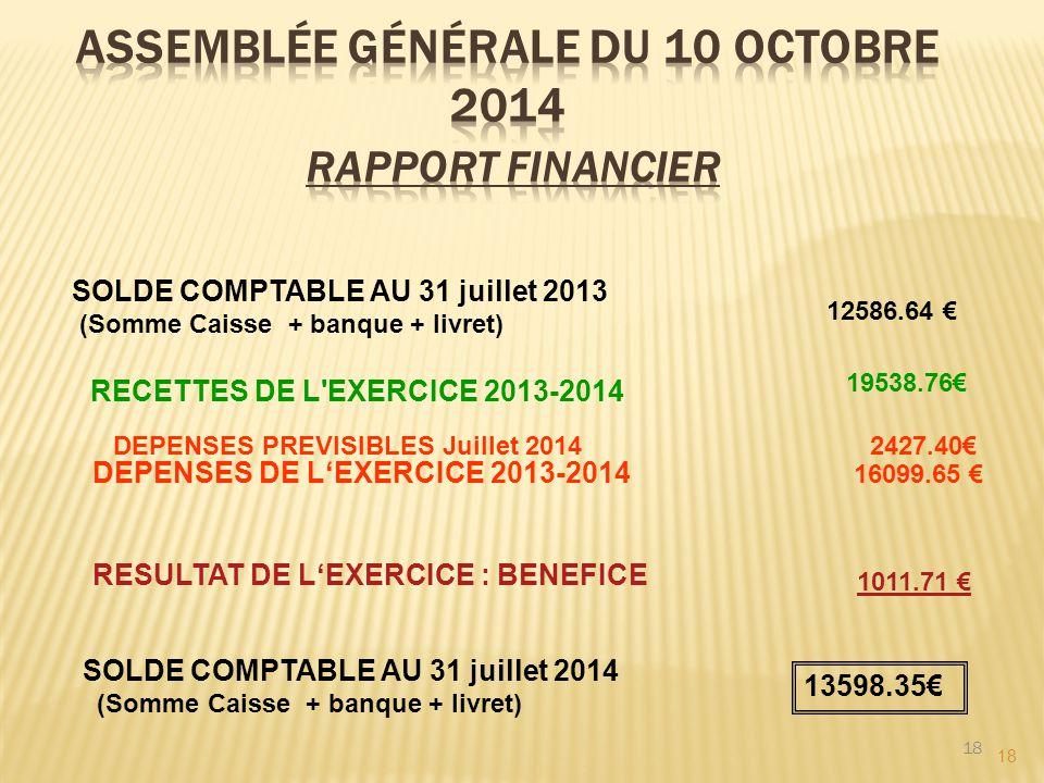 18 SOLDE COMPTABLE AU 31 juillet 2013 (Somme Caisse + banque + livret) 12586.64 € RECETTES DE L'EXERCICE 2013-2014 19538.76€ DEPENSES DE L'EXERCICE 20