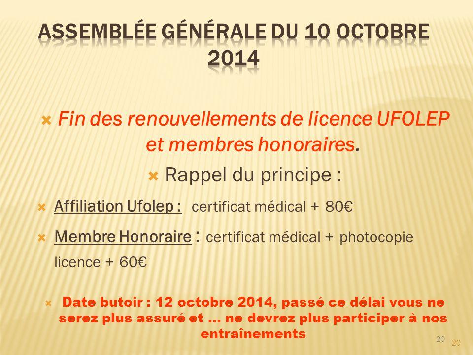 20  Fin des renouvellements de licence UFOLEP et membres honoraires.  Rappel du principe :  Affiliation Ufolep : certificat médical + 80€  Membre