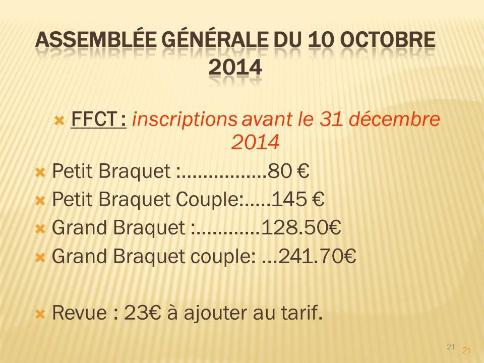 21  FFCT : inscriptions avant le 31 décembre 2014  Petit Braquet :…………….80 €  Petit Braquet Couple:…..145 €  Grand Braquet :…………128.50€  Grand Br