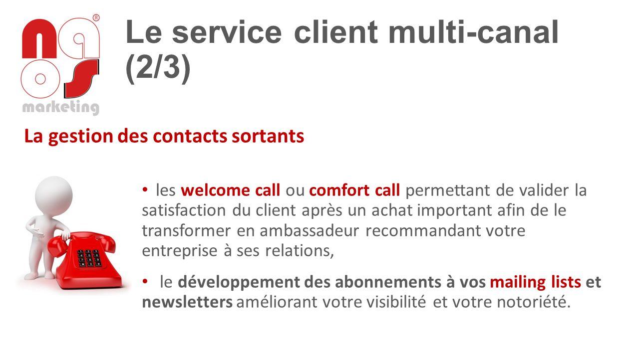 Le service client multi-canal (2/3) La gestion des contacts sortants les welcome call ou comfort call permettant de valider la satisfaction du client