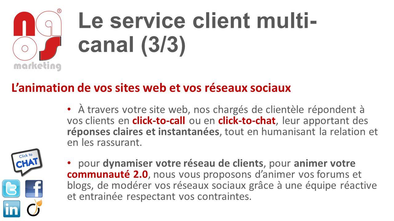 Le service client multi- canal (3/3) L'animation de vos sites web et vos réseaux sociaux À travers votre site web, nos chargés de clientèle répondent