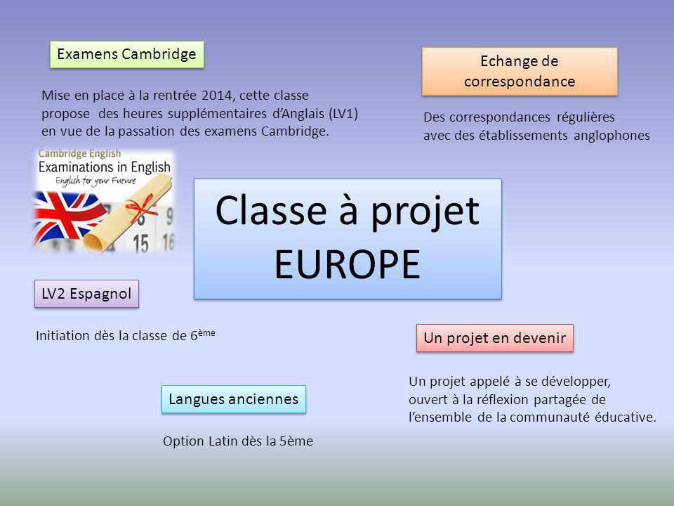 Classe à projet EUROPE Examens Cambridge Echange de correspondance LV2 Espagnol Un projet en devenir Mise en place à la rentrée 2014, cette classe pro