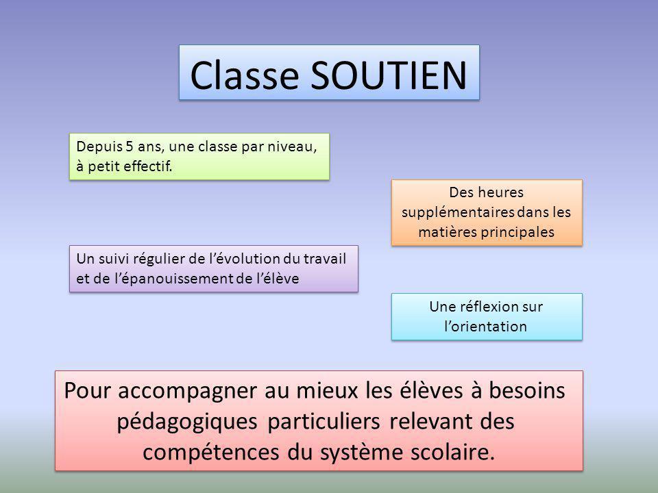 Classe SOUTIEN Depuis 5 ans, une classe par niveau, à petit effectif. Depuis 5 ans, une classe par niveau, à petit effectif. Des heures supplémentaire