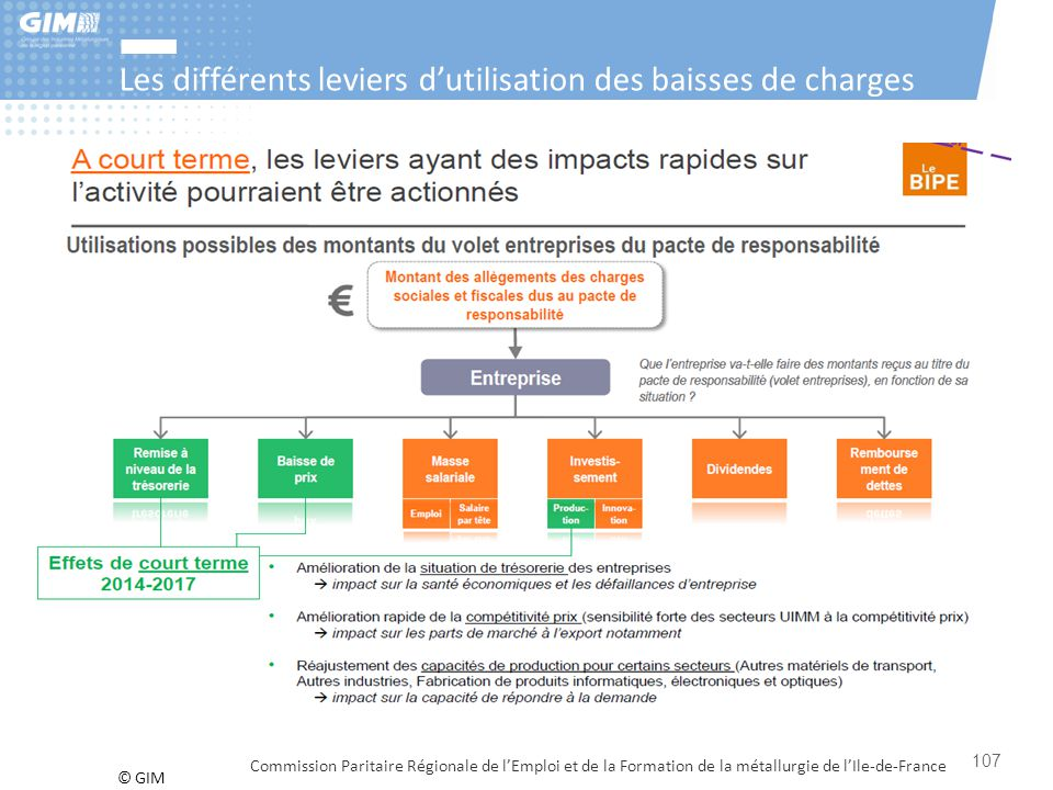 © GIM Les différents leviers d'utilisation des baisses de charges Commission Paritaire Régionale de l'Emploi et de la Formation de la métallurgie de l