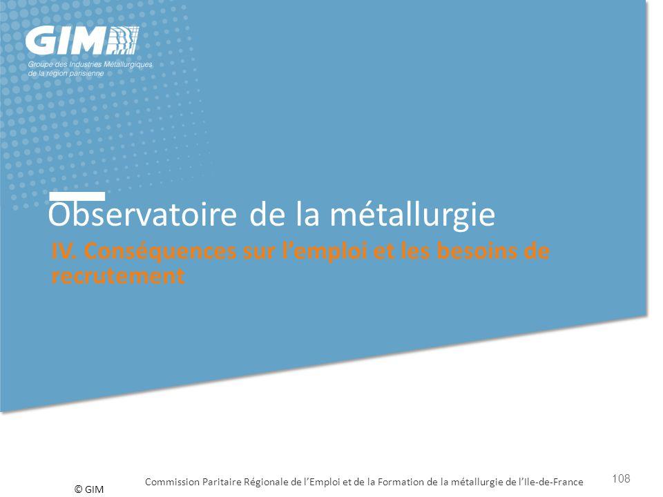 © GIM Observatoire de la métallurgie IV. Conséquences sur l'emploi et les besoins de recrutement Commission Paritaire Régionale de l'Emploi et de la F