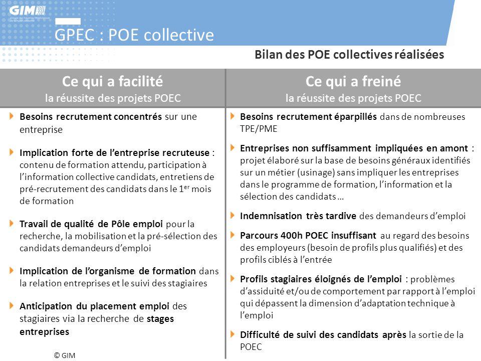 © GIM GPEC : POE collective Ce qui a facilité la réussite des projets POEC Ce qui a freiné la réussite des projets POEC Besoins recrutement concentrés