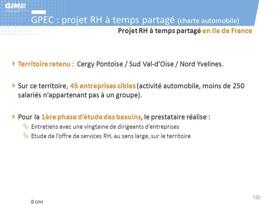 © GIM 150 Projet RH à temps partagé en Ile de France Territoire retenu : Cergy Pontoise / Sud Val-d'Oise / Nord Yvelines. Sur ce territoire, 45 entrep
