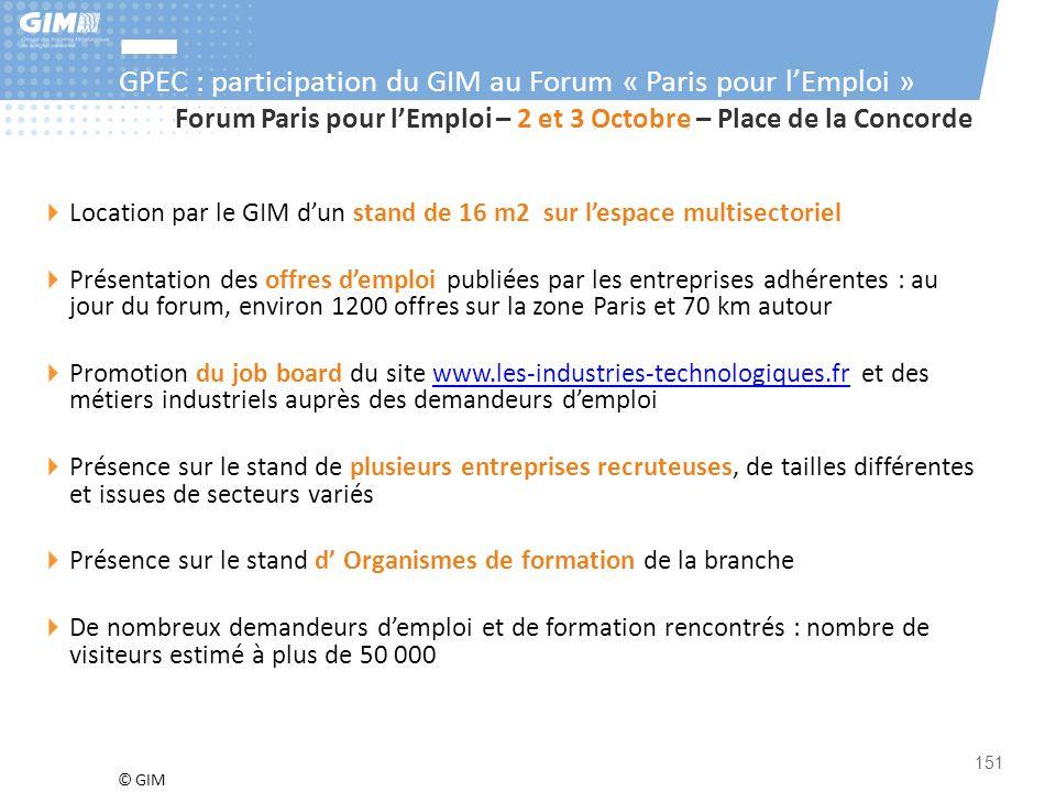 © GIM 151 Forum Paris pour l'Emploi – 2 et 3 Octobre – Place de la Concorde Location par le GIM d'un stand de 16 m2 sur l'espace multisectoriel Présen