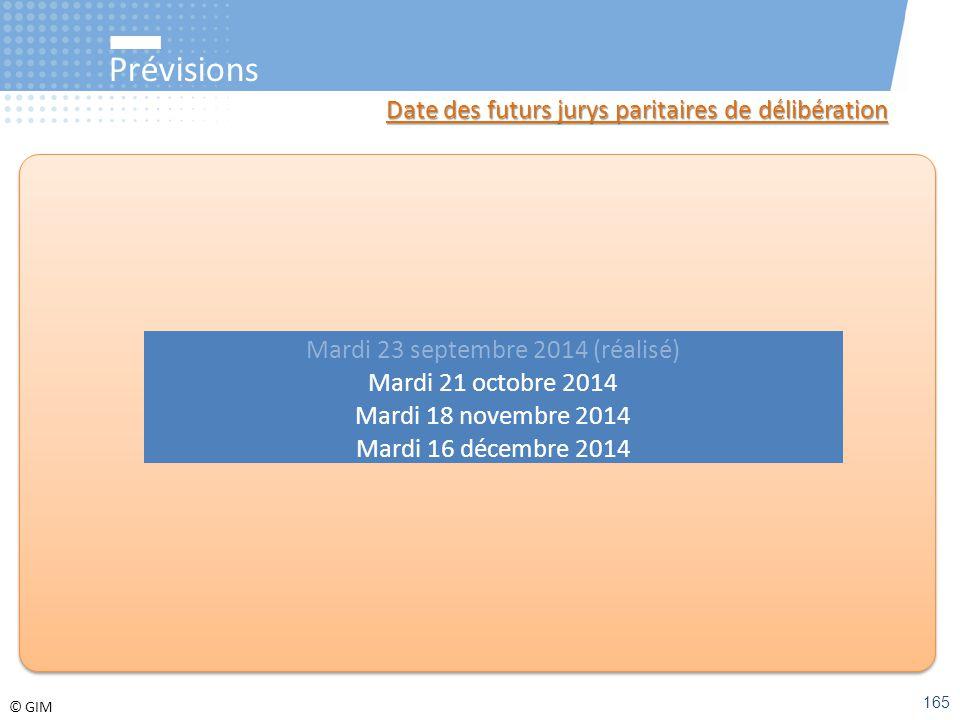 © GIM Prévisions Date des futurs jurys paritaires de délibération Mardi 23 septembre 2014 (réalisé) Mardi 21 octobre 2014 Mardi 18 novembre 2014 Mardi