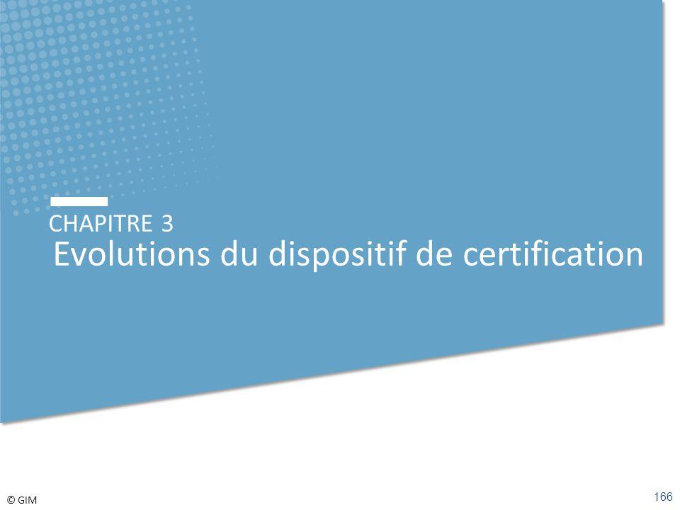 © GIM CHAPITRE 3 Evolutions du dispositif de certification 166