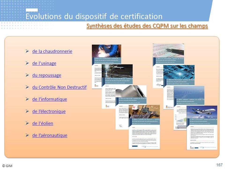 © GIM Evolutions du dispositif de certification Synthèses des études des CQPM sur les champs  de la chaudronnerie de la chaudronnerie  de l'usinage