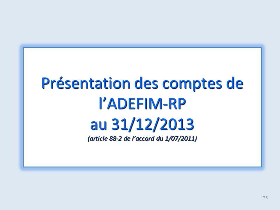 176 Présentation des comptes de l'ADEFIM-RP au 31/12/2013 (article 88-2 de l'accord du 1/07/2011)