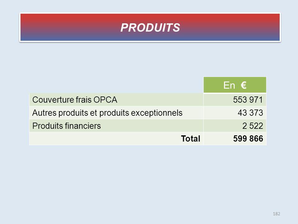 PRODUITS En € Couverture frais OPCA553 971 Autres produits et produits exceptionnels43 373 Produits financiers2 522 Total599 866 182