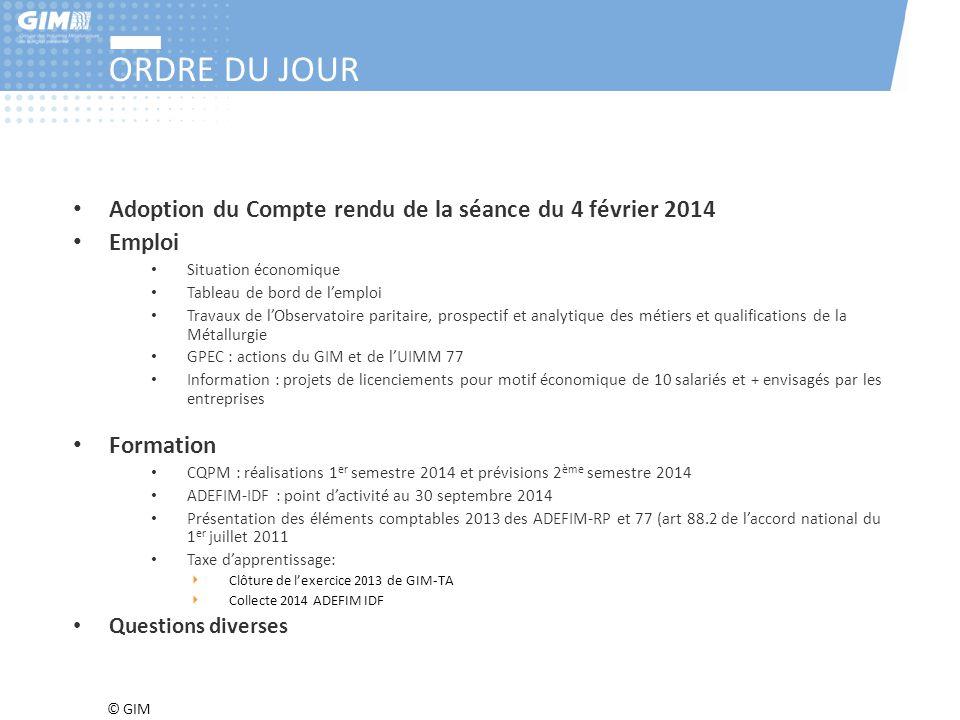 © GIM ORDRE DU JOUR Adoption du Compte rendu de la séance du 4 février 2014 Emploi Situation économique Tableau de bord de l'emploi Travaux de l'Obser