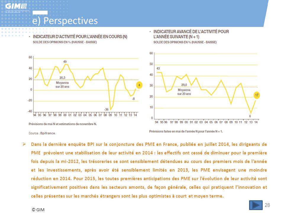 © GIM 28 e) Perspectives  Dans la dernière enquête BPI sur la conjoncture des PME en France, publiée en juillet 2014, les dirigeants de PME prévoient