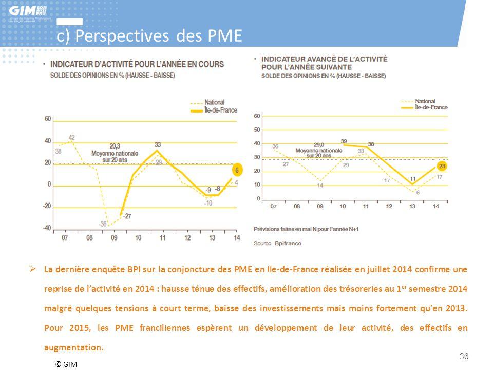 © GIM 36 c) Perspectives des PME  La dernière enquête BPI sur la conjoncture des PME en Ile-de-France réalisée en juillet 2014 confirme une reprise d