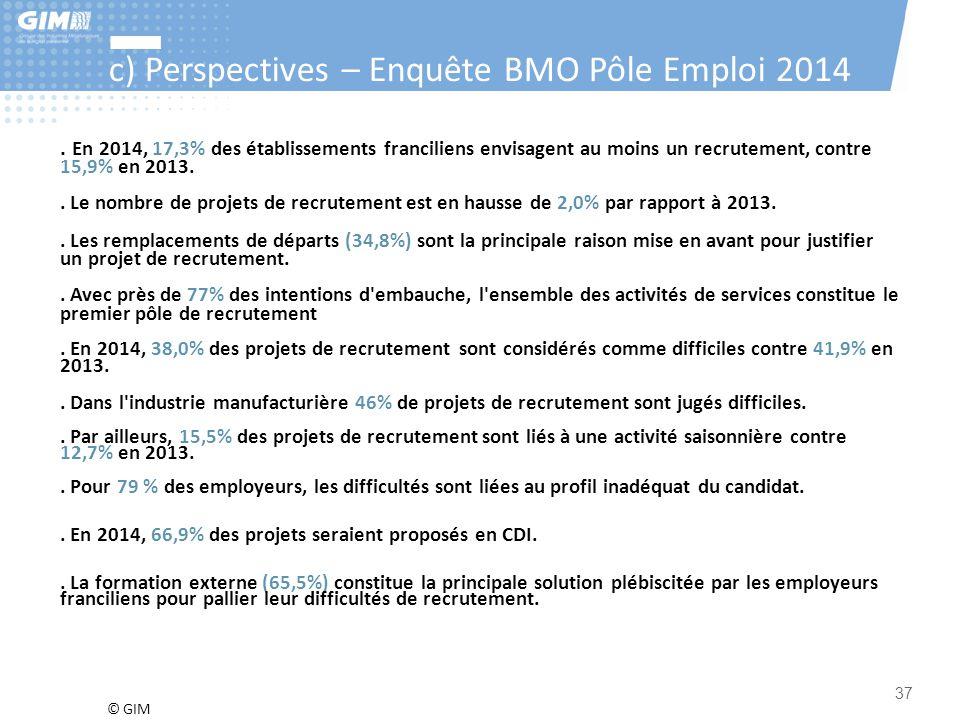 © GIM 37 c) Perspectives – Enquête BMO Pôle Emploi 2014. En 2014, 17,3% des établissements franciliens envisagent au moins un recrutement, contre 15,9