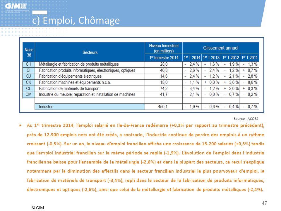 © GIM 47 c) Emploi, Chômage Source : ACOSS  Au 1 er trimestre 2014, l'emploi salarié en Ile-de-France redémarre (+0,3% par rapport au trimestre précé