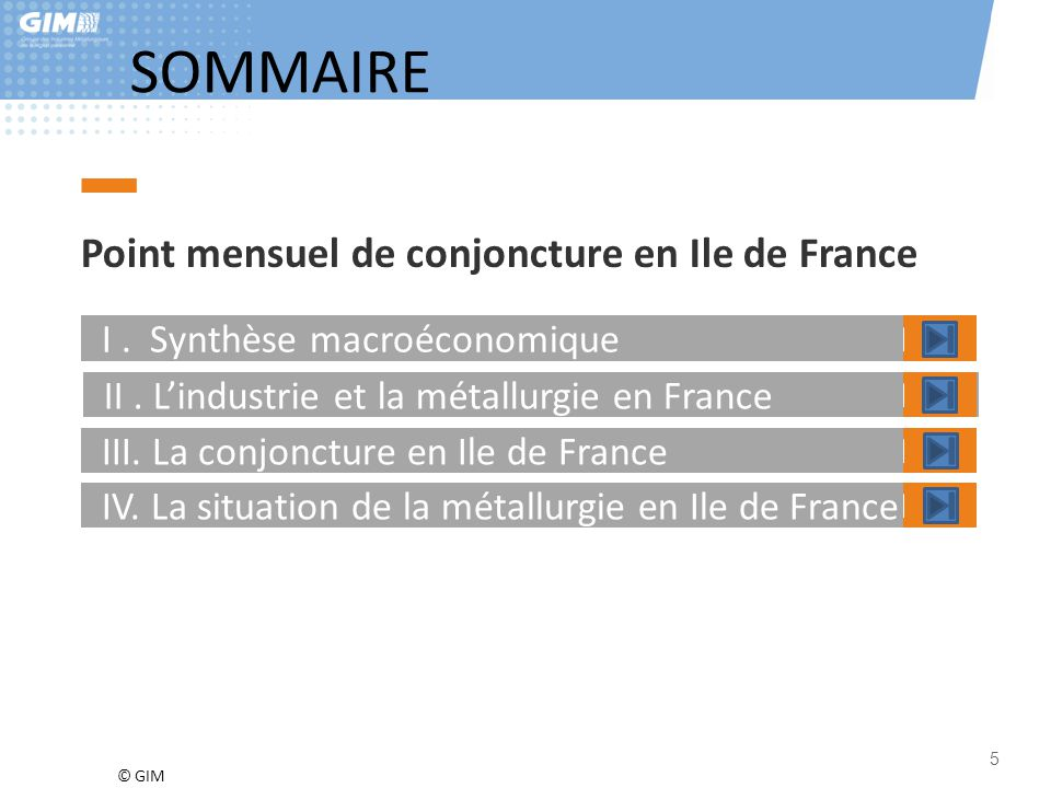 © GIM SOMMAIRE Point mensuel de conjoncture en Ile de France I. Synthèse macroéconomique II. L'industrie et la métallurgie en France III. La conjonctu