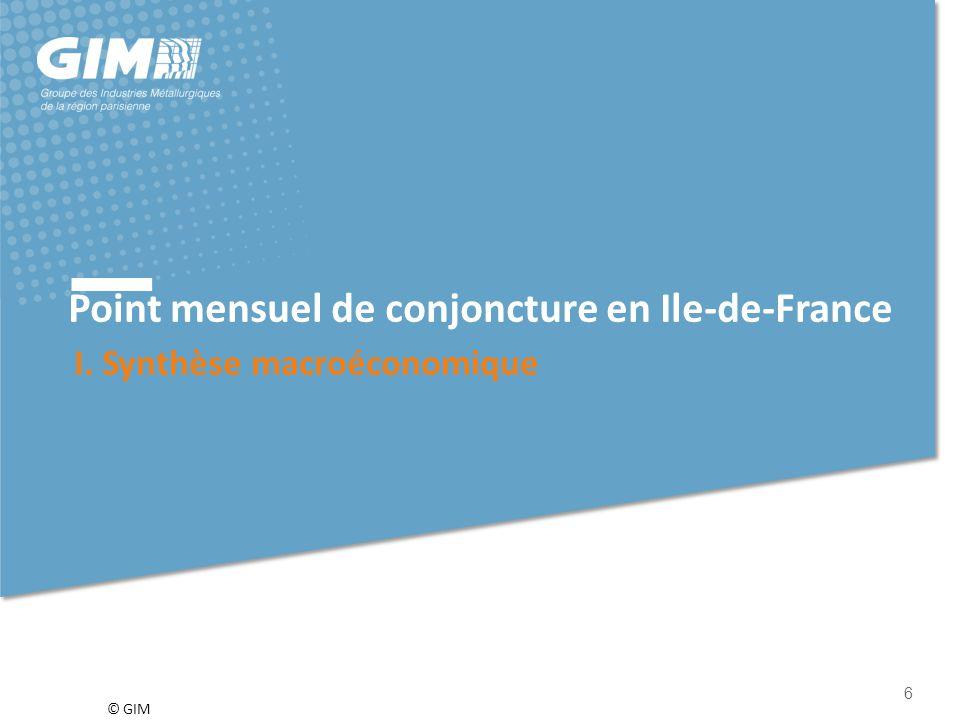 © GIM 7 a) Climat  L'indicateur du climat des affaires en France, calculé à partir des réponses des chefs d'entreprise des principaux secteurs d'activité, se dégrade et perd deux points en août.