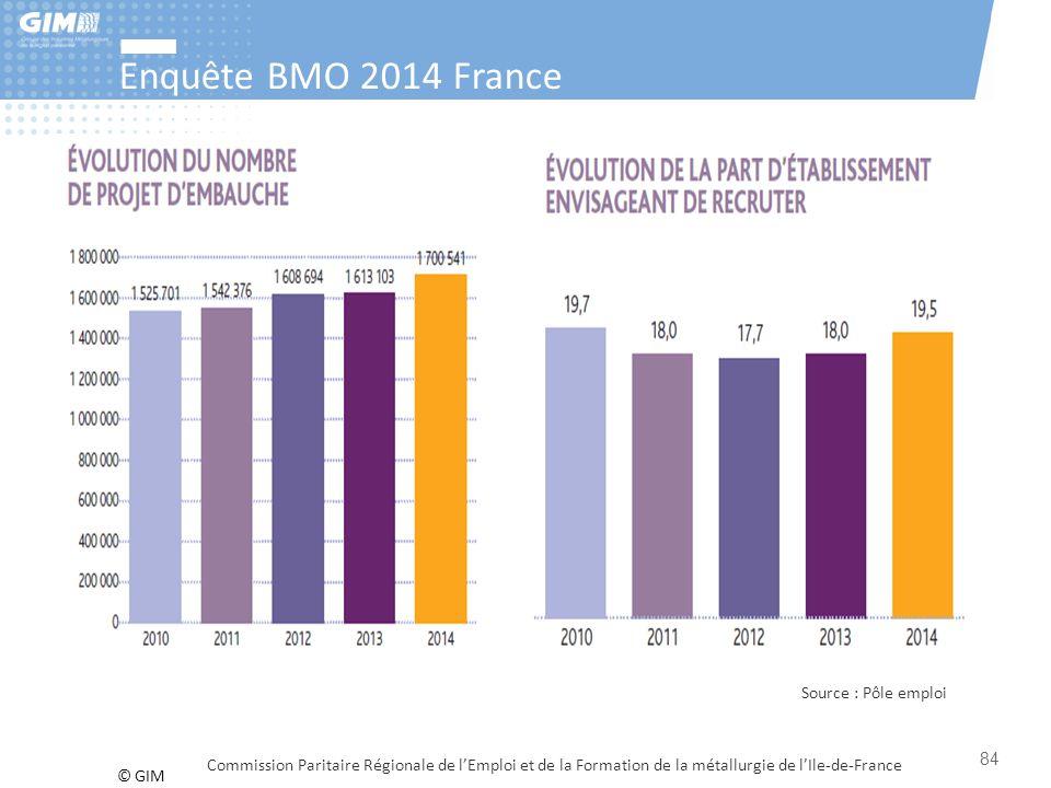 © GIM Enquête BMO 2014 France Commission Paritaire Régionale de l'Emploi et de la Formation de la métallurgie de l'Ile-de-France Source : Pôle emploi