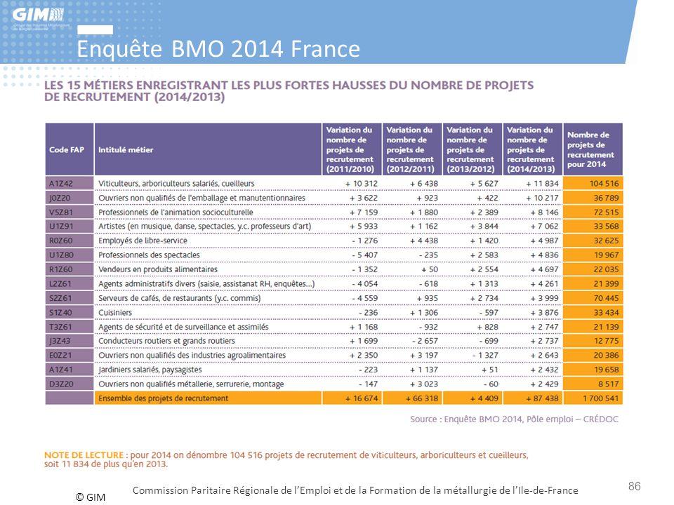 © GIM Enquête BMO 2014 France Commission Paritaire Régionale de l'Emploi et de la Formation de la métallurgie de l'Ile-de-France 86