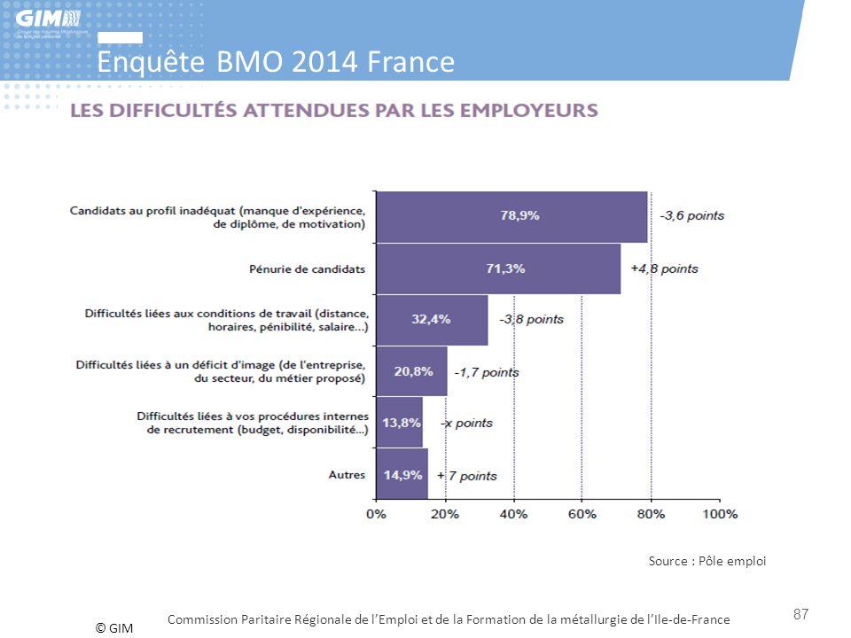 © GIM Enquête BMO 2014 France Commission Paritaire Régionale de l'Emploi et de la Formation de la métallurgie de l'Ile-de-France 87 Source : Pôle empl