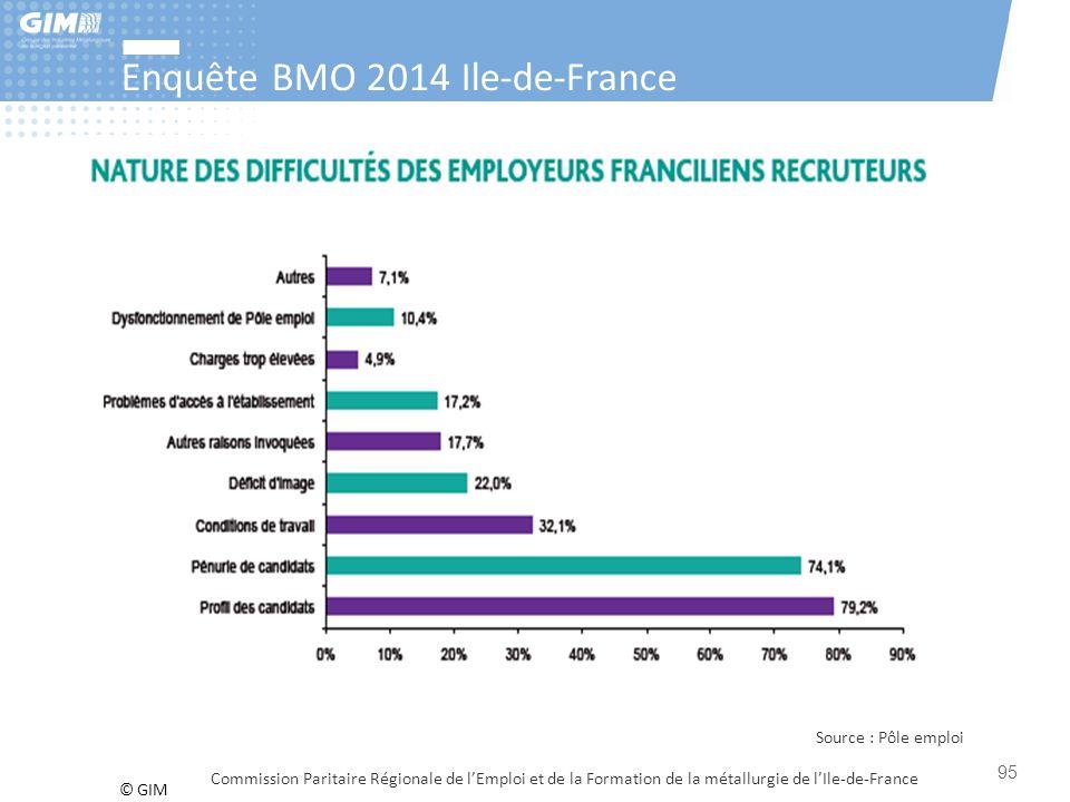 © GIM Enquête BMO 2014 Ile-de-France Commission Paritaire Régionale de l'Emploi et de la Formation de la métallurgie de l'Ile-de-France 95 Source : Pô