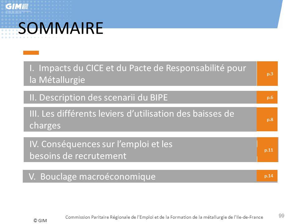 © GIM SOMMAIRE I. Impacts du CICE et du Pacte de Responsabilité pour la Métallurgie p.3 II. Description des scenarii du BIPE III. Les différents levie