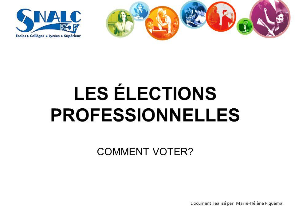 LES ÉLECTIONS PROFESSIONNELLES COMMENT VOTER? Document réalisé par Marie-Hélène Piquemal