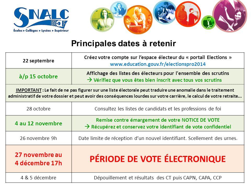 Principales dates à retenir 22 septembre Créez votre compte sur l'espace électeur du « portail Elections » www.education.gouv.fr/electionspro2014 à/p