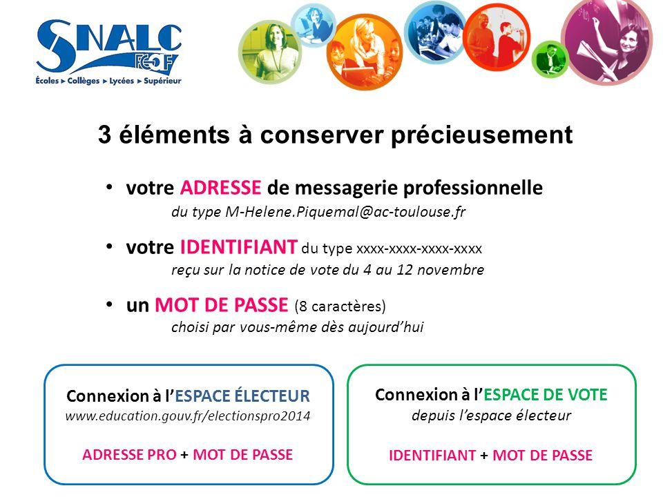 3 éléments à conserver précieusement votre ADRESSE de messagerie professionnelle du type M-Helene.Piquemal@ac-toulouse.fr votre IDENTIFIANT du type xx